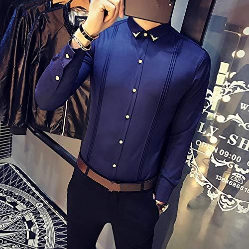 OBHDGVWN Herbst Neue Männer Smoking Hemden Langarm Slim Fit gut aussehend Persönlichkeit Business Casual Shirt Mann Fashion Solid Party Shirts @ Dark_Blue_3XL