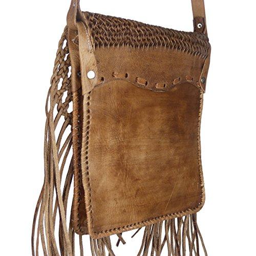 """Leder Umhängetasche """"Indian"""" 30x25cm hellbraun • marokkanische Umhängetasche mit Fransen in Flecht-Optik • 100% Handarbeit & Rindsleder • Handtasche aufklappbarmit 2 Fächern • auch als ✔ Aktentasche ✔ hellbraun"""