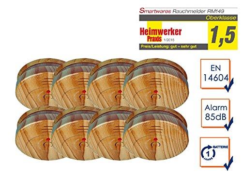 8er SET Optischer Rauchmelder in hochwertiger Holzoptik mit 1 Jahres Batterie
