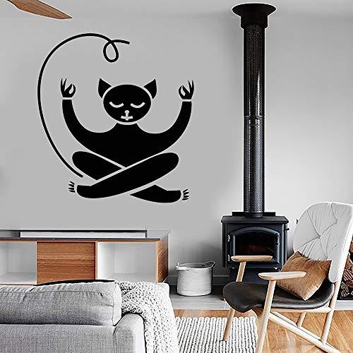 guijiumai Meditation Katze Vinyl Wandtattoo Yoga Aufkleber Schlafzimmer Wohnkultur Tier Haustier Zen Wandaufkleber Sport Aufkleber Wandbild Modern schwarz 42X46 cm