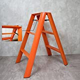 3-Stufen Leiter Hocker Aluminium Klappkinder Dreistufiger Stuhl Dual Use Tragbares Hauptlagergewicht 150kg (Farbe : Orange)