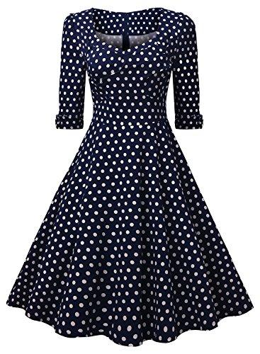 Miusol Elegant 50er Jahre Retro Polka Dots?Rockabilly Cocktailkleid Party Stretch Kleid Blau Gr.M