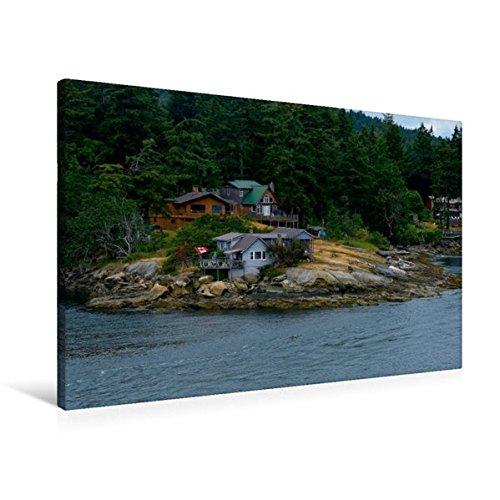 Premium Textil-Leinwand 90 cm x 60 cm quer, Besiedelter Fjord enlang der Inside Passage | Wandbild, Bild auf Keilrahmen, Fertigbild auf echter Kanadas Inside Passage (CALVENDO - Schiff Nach Kanada