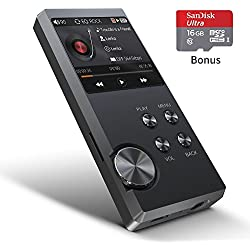 Lecteur MP3 haute résolution, Bassplay P3000 Portable Audio Lecteur de musique numérique avec fente pour carte SD Y compris 16 Go de carte SD jusqu'à 128 Go de mémoire extensible