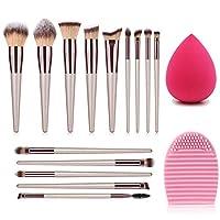 Ammiy? 10 Pcs Makeup Brush Set Professional Handle Premium Synthetic Kabuki Foundation Blending Blush Concealer Eye Face Liquid Powder Cream Cosmetics Lip Brush Tool Brushes Kit