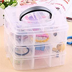Inditradition 3 Layer Things Storage Box, Organizer, Container, Bin, Basket | With Removable Dividers (Transparent, Plastic)