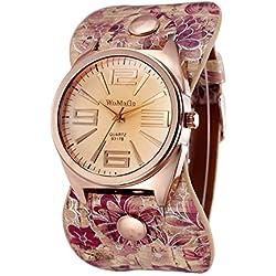 Mode Blumenmuster Pu-Armband Quarz Armbanduhr Für Damen