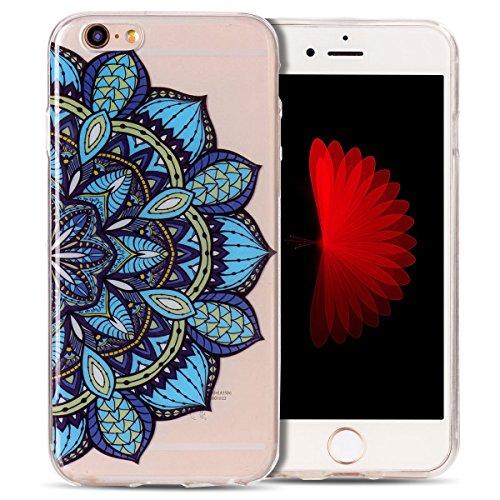 Cover iPhone 6 Spiritsun Case iPhone 6S Moda Ultraslim Trasparente Soft TPU Case Handy Cover High Quality Case Elegante Souple Flessibile Liscio Copertura Perfetta Protezione Shell Morbido Silicone Cu Fiori Blu
