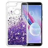 K&L Hülle für Huawei Honor 9 Lite, Fließen Bling Dynamisch Glitzer Kratzfest Silikon schutzhülle Schale Luxus handyschalen Shiny Cover für Huawei Honor 9 Lite - Lila