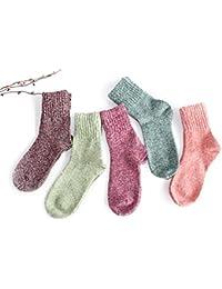 UEETEK 5 pares de mujeres lana Cachemira gruesa cálido suave sólido deportivo Casual calcetines