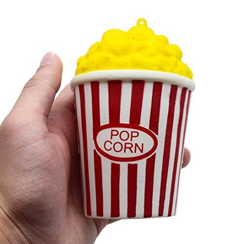 at. chot Soft Popcorn Cup PU Slow Rising Squeeze Cute Cartoon Spielzeug Lovely Mini Simulation Popcorn Form Geschenk für Kinder und Erwachsene lindert Stress Relax, PU, rot, M (Halloween-popcorn-geschenke)