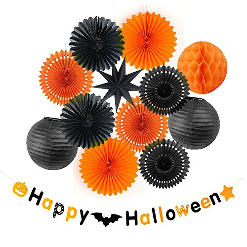 alloween Papier Dekoration Orange & Schwarz Lampion Wabenbälle (13 Stk) ()