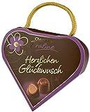 Pralinenschachtel in Herz Form | Pralinen Geschenk originell Spruch: Herzlichen Glückwunsch | Kleines Geschenk Herz Geschenkidee Freundin I Schokolade