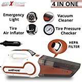 #9: AllExtreme AE-Q8801D 4 in 1 Multifunctional Portable Handheld Car Vacuum Cleaner with Air Inflator, Analog Dial Tire Pressure Gauge and LED Light with 4.5M Car Cigarette Lighter Power Cord (4300Pa, 120W)