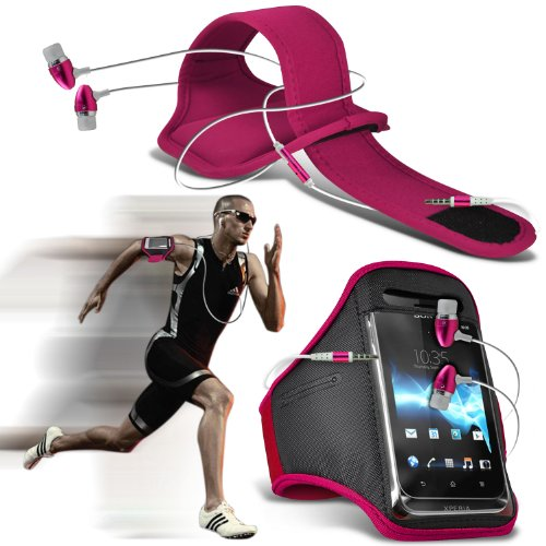 ( Hot Pink ) Plum Mouse Sports Lauf Jogging Ridding Bike Cycling Gym Arm-Band-Kasten-Beutel-Abdeckung & Premium Qualität Aluminium In-Ear-Ohrhörer Stereo-Kopfhörer-Kopfhörer Hands Free-Headset mit Mikrofon Mic & On-Off-Taste nach Baujahr - Wireless Pink Mouse Hot