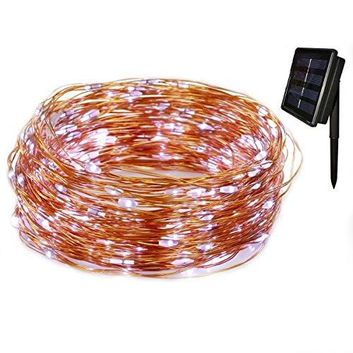 Tuokay Luz Solar 22M 200 LED Guirnalda de Luces 8 Modos de Luces de Alambre de Cobre Impermeable para Decoración de Fiestas, Bodas, Navidad, Exterior e Interior (Blanco)