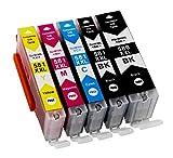 5 Druckerpatronen für Canon PGI-580 XXL CLI-581 XXL mit Chip kompatibel für Pixma TS6150 TS6151 TR7550 TR8550 TS8150 TS8151 TS8152 TS9150 TS9155 (1Schwarz, 1 Foto-schwarz, 1 Cyan, 1 Magenta, 1 Gelb)