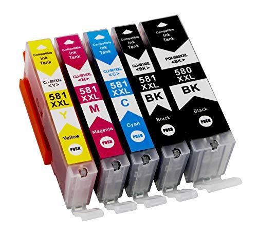 5 Druckerpatronen für Canon PGI-580 XXL CLI-581 XXL mit Chip kompatibel für Pixma TR7550 TR8500 TR8550 TS6100 TS6150 TS6151 TS6250 TS705 TS8150 TS8151 TS8250 TS9150 TS9155 TS9550