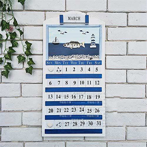 FENGCLOCK Wanduhr mit Thermometer Wandkalender, Mediterranes Marine Nautischen Stil Großer Fisch Wand Kalender, Wanddekoration Zahlen Ewiger Kalender,Fish