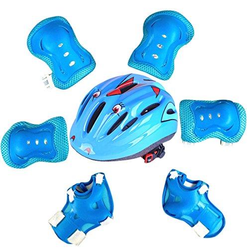 YAKOK Fahrradhelm Kinder, 7Stück Schmetterling Kinder Helm Set mit Schutzausrüstung für Mädchen Jungen 3-12 Jahre für Fahrrad Skateboard Scooter Reiten Skater (Blau)