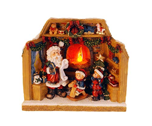 made2trade Weihnachtsfigur mit echtem Feuer-Effekt - LED Beleuchtung - 20cm - Kranz