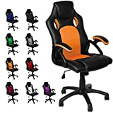 Panorama24 Gamer Stuhl Gaming Chair Chefsessel Bürostuhl Ergonomisch, Orange, 9 Farbvarianten, gepolsterte Armlehnen, Wippmechanik, belastbar bis 150 kg, Lift TÜV geprüft