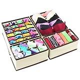 Schublade Organizer Aufbewahrungsboxen Faltbare Trennwände Schrank Unterwäsche BH Socken Stoff Veranstalter 4 Set Beige