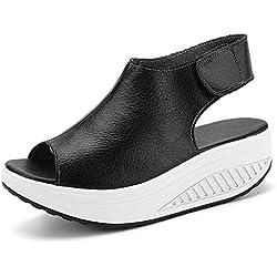 Bdawin Shape Ups Mujer Cuero Confort Peep Toe Cuña Sandalias Plataforma Tacón Zapatos Para Caminar,908M Black EU37