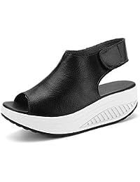 Bdawin Donna Shape-Ups Pelle Comfort Peep Toe Sandali Zeppa Heeled Scarpe Camminare Piattaforma