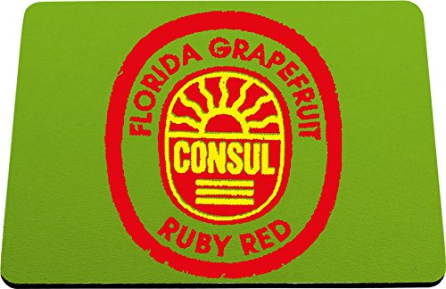 Hippowarehouse Florida Gfruit Consul Ruby Red Label printed mouse mat pad accessory black rubber base 240mm x 190mm x 60mm