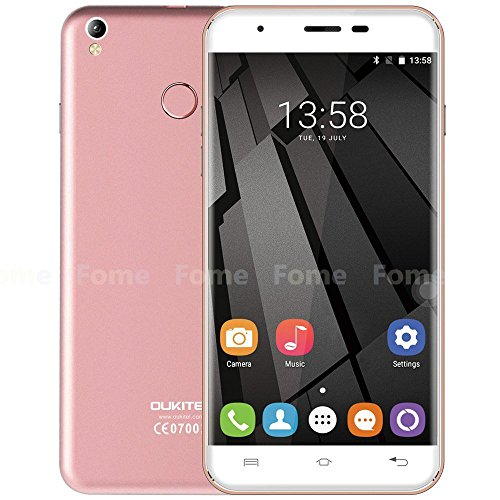 Oukitel U7 Plus - 5.5 pulgadas HD Android 6.0 4G teléfono inteligente de cuatro núcleos a 1,3 GHz 2 GB de RAM 16 GB de ROM de la huella digital GPS Dual SIM 13 MP - Oro rosa