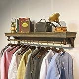 YOUjU YX Shop® Wandgarderobe Vintage Schwebendes Regal Aus Holz Bekleidungsgeschäft Ausstellungsstand, Antikes Kupfer Farbe 60/80/100/120CM (größe : 120cm)
