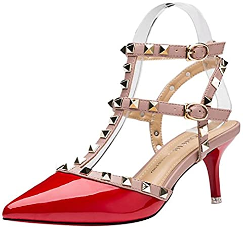 Lady Women Sexy Metal Studs Pointed Toe Low Mid Heels Club Party Office Work Stiletto Shoes(4 UK,