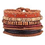MJARTORIA Damen Vintage Hippie Armband Boho Wickelarmband Multifarben Geflochten Armreif Multilayer Freundschaftsarmband mit Quasten Perlen