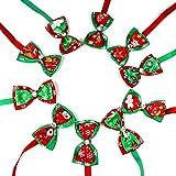 WLDOCA Weihnachten Urlaub Mode Niedlichen Hund Hund Katze Kätzchen Halskette Fliege Umhängeband Einstellbar Hundesalon Zubehör (10 Teile)