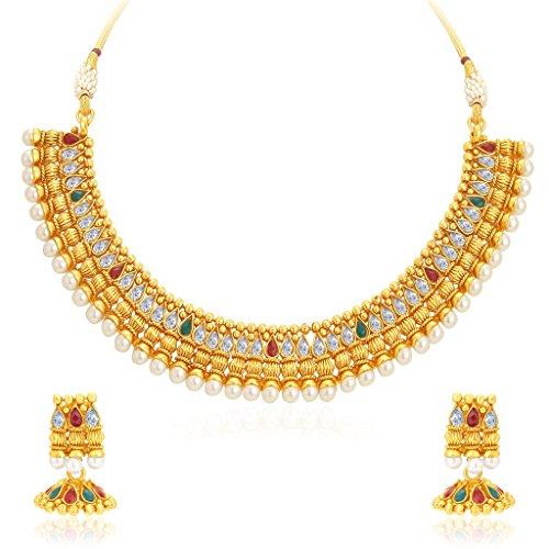 Sukkhi Eye-Catchy Gold Plated Kundan Necklace Set For Women
