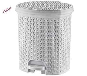 21 l litres poubelle salle de bain p dale rotin blanc poubelle de cuisine effet osier amazon. Black Bedroom Furniture Sets. Home Design Ideas