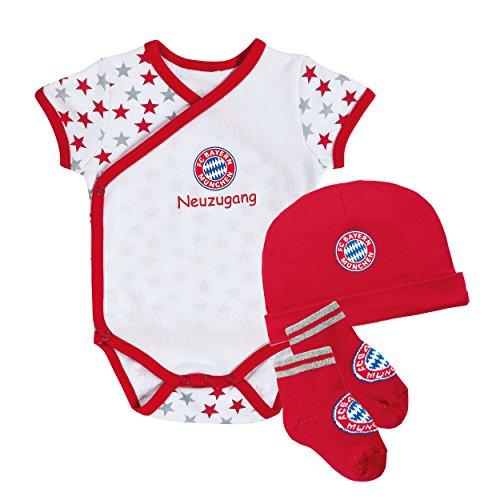 FC Bayern München Baby Set 3 teilig Neuzugang Gr. 56/62 Baby Body, Mütze, Söckchen - plus Aufkleber forever München