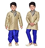 AJ Dezines Kids Indo Western Kurta Dhoti Pant Set for Boys (1903_BLUE_5)