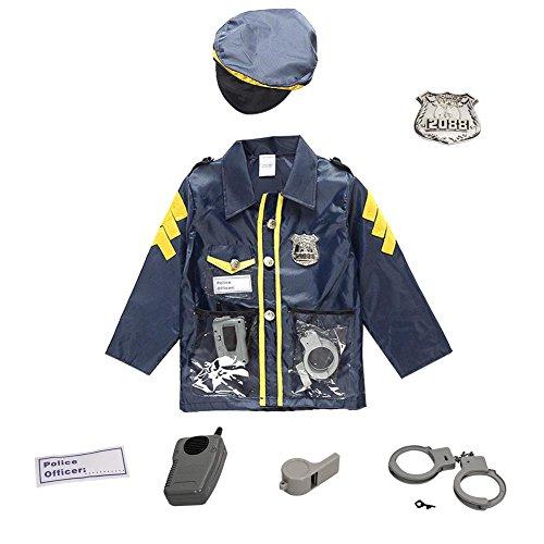 Waroomss Polizei Kostüm für Kinder, Deluxe Polizei Dress Up Kostüm Set mit Spielzeug Rollenspiel Kit beinhaltet Hemd, Hose, Hut, Gürtel, Pfeife, Pistolenhalfter und Walkie Talkie