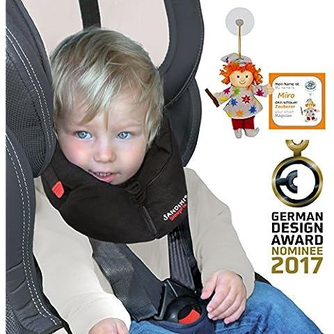 SANDINI SleepFix S - niños almohada de seguridad (coche/bicicleta) - NUEVO AJUSTE - Set completo NEGRA - Incluye