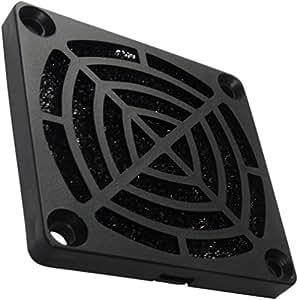 Aerzetix - 2 x griglia nera di protezione C15114 60 x 60 mm con filtro 30ppi ventilazione per ventilatore della COMPUTER PC