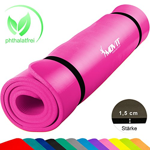 MOVIT XXL Pilates Gymnastikmatte, Yogamatte, phthalatfrei, SGS geprüft, 190 x 60 x 1,5cm, Pink