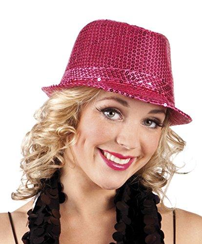 Faschingsfete Karnevalsaccessoire - Hut mit Pailletten, Popstar, Pink