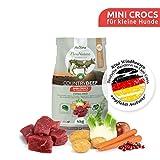 AniForte Natürliches Hunde-Futter Trockenfutter Country-Beef 4kg, Mini Crocs für Kleine Hunde, Rind-Fleisch, 100% Natur, Allergiker, Getreide-Frei, Glutenfrei, Ohne Chemie und künstliche Vitamine