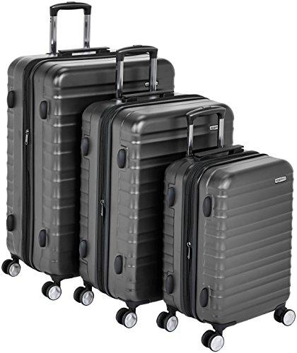 AmazonBasics - Trolley rigido premium, con rotelle pivotanti e lucchetto TSA integrato, Set da 3 pezzi (55 cm, 68 cm, 78 cm), Nero