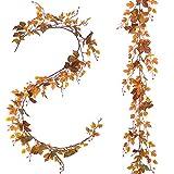 1 Stück Attvn Fall Ahornblätter Girlande, Künstliche Herbst Ahornblätter Ahorn Laub Herbstlaub Blätter für Unterlage Wandbild Türschild Party Hochzeit Weihnachten Deko