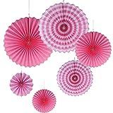 Gazechimp 6Stück Faltrosetten Dekofächer Deko Rosetten Wabenball Wabenbälle Pompom Papierfächer - Rosa, 20 cm