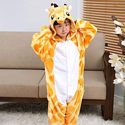 ALBRIGHT Kinder Overall Cosplay Cartoon Kostüm Giraffe, Tier Onesie Nachthemd Schlafanzug Kapuzenpullover Nachtwäsche für Weihnachten Halloween Karnival Party