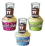 vorgeschnittenen Cola und Ice Drink–77th Geburtstag–Essbare Cupcake Topper/Kuchen Dekorationen (12Stück)